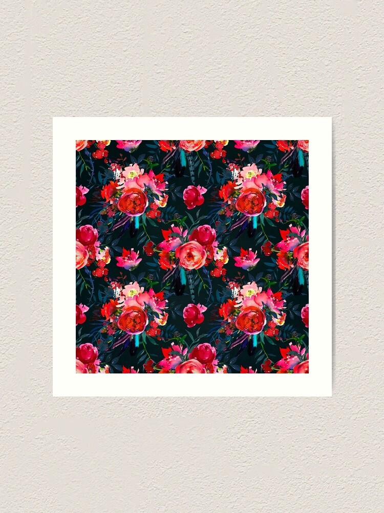Alternate view of Neon pink fuschia black watercolor modern floral Art Print
