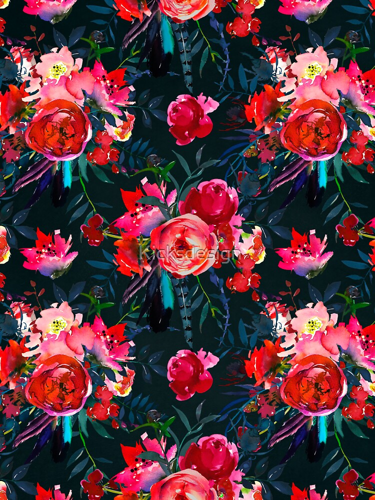 Neon pink fuschia black watercolor modern floral by Kicksdesign