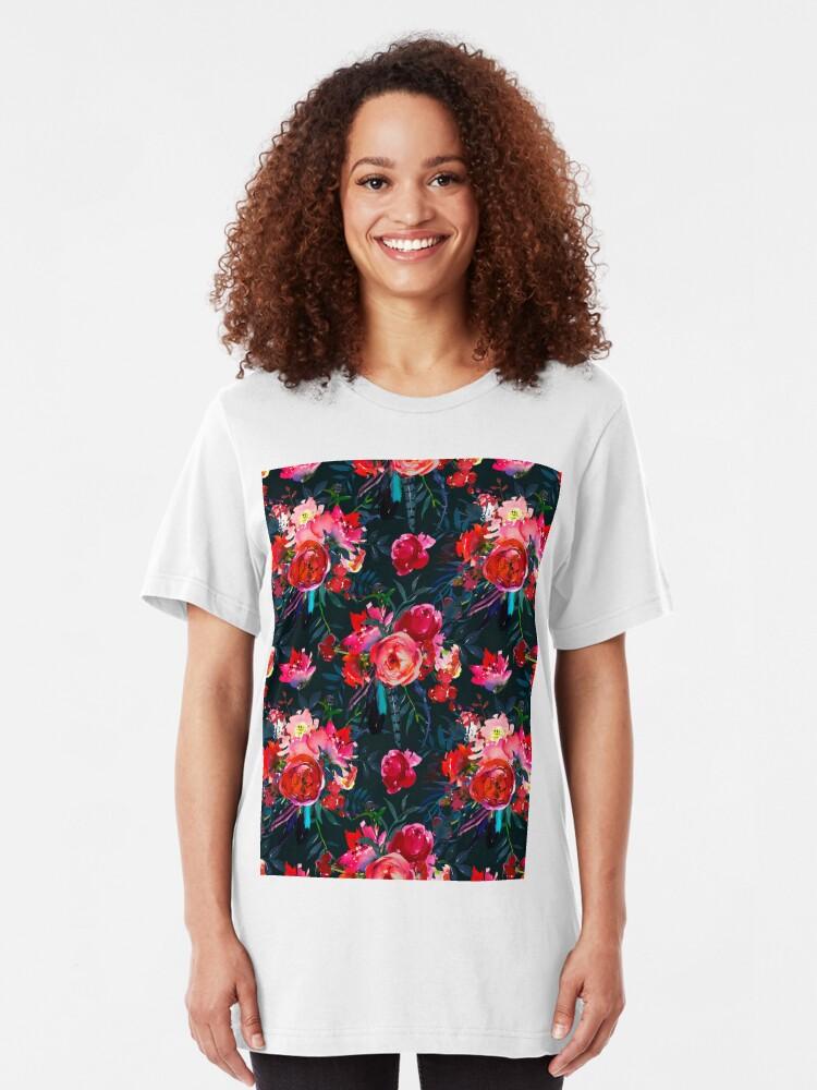 Alternate view of Neon pink fuschia black watercolor modern floral Slim Fit T-Shirt