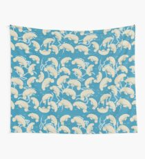 Lamentino the manatee pattern - lots and lots of manatees on teal blue background with yellow fishes and seaweeds  Wall Tapestry