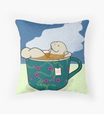 The manatea is excellent today - manatee in teacup infused in shade Throw Pillow