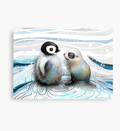 Penguin Chick and Baby Seal Metal Print