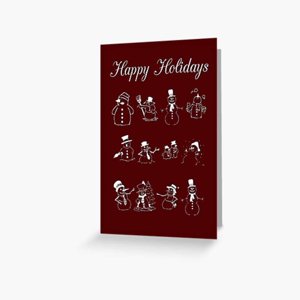 Happy Holidays with Snowmen Greeting Cards Greeting Card
