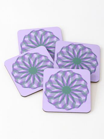 Spirograph with green and violet Coasters