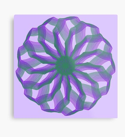 Spirograph with green and violet Metal Print