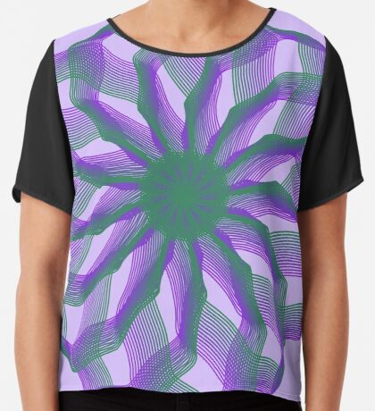 Spirograph with green and violet Chiffon Top