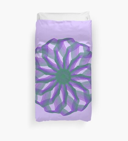 Spirograph with green and violet Duvet Cover