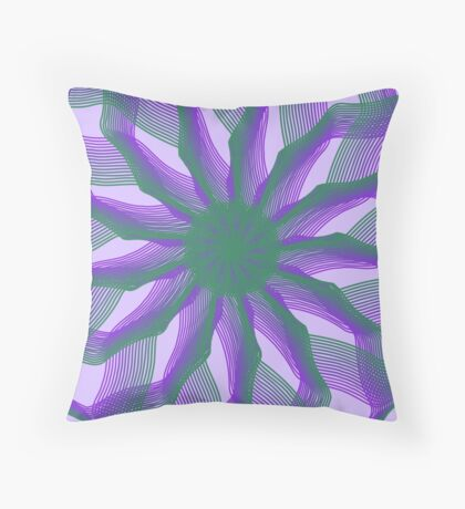 Spirograph with green and violet Throw Pillow
