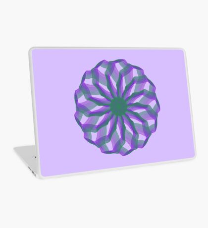 Spirograph with green and violet Laptop Skin