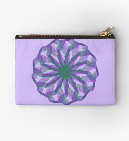 Spirograph with green and violet Zipper Pouch