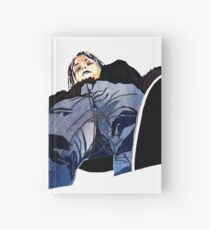 Man in jeans, ant perspective, fabric collage - faith and truth Hardcover Journal