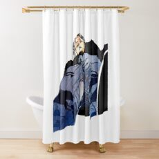 Man in jeans, ant perspective, fabric collage - faith and truth Shower Curtain