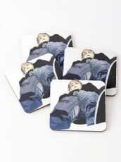 Man in jeans, ant perspective, fabric collage - faith and truth Coasters