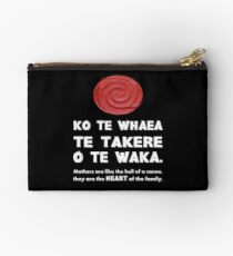 Mothers Are the Heart of the Family, Maori Proverb (black background) Studio Pouch