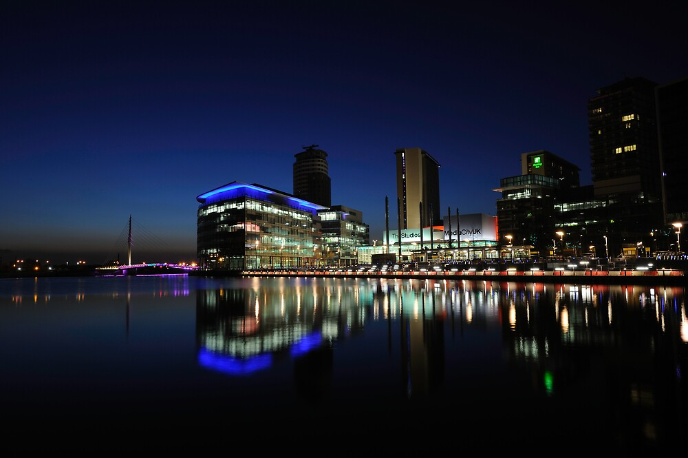 Media City Manchester At Dusk by Steve Ashton