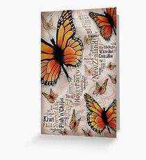Monarch New Zealand Map  Greeting Card