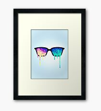 Psychedelic Nerd Glasses with Melting LSD/Trippy Color Triangles Framed Print