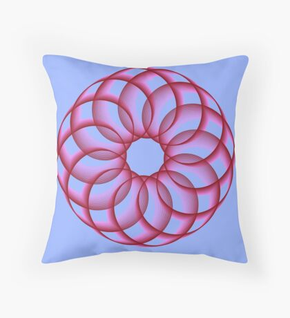 Spirograph with red Throw Pillow