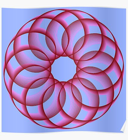 Spirograph with red Poster