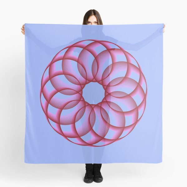 Spirograph with Red Pink Blue Scarf