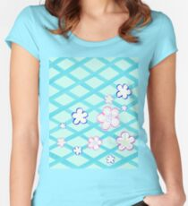 Baby Blue Garden Flowers Women's Fitted Scoop T-Shirt