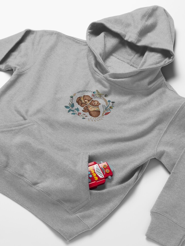 Alternate view of Whimsical Bear Pair with Fantasy Flora  Kids Pullover Hoodie