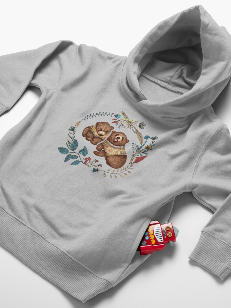 Alternate view of Whimsical Bear Pair with Fantasy Flora  Toddler Pullover Hoodie