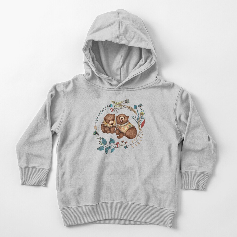 Whimsical Bear Pair with Fantasy Flora  Toddler Pullover Hoodie