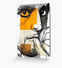 face on segmented paper Greeting Card