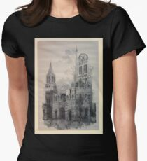 Auguste Lepère Façade of Rouen Cathedral by Auguste Lepère Womens Fitted T-Shirt