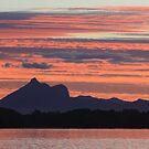 sunset over wollumbin by gail woodbury