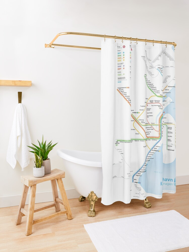 Alternate view of New rapid transit map of Copenhagen (September 29, 2019) Shower Curtain