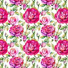 Neon pink lavender green hand painted watercolor roses by Kicksdesign