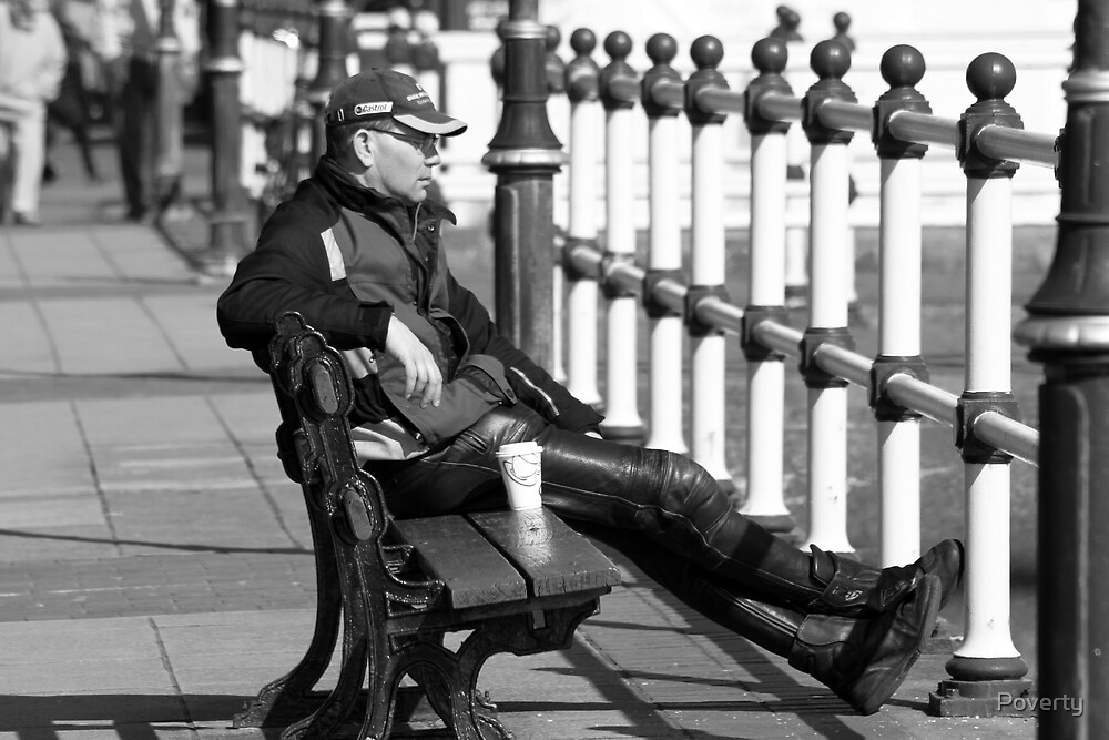 """"""" Well, even bikers need a coffee break """". by Poverty"""