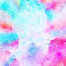 Neon pink teal aqua abstract elegant watercolor brushstrokes by Kicksdesign