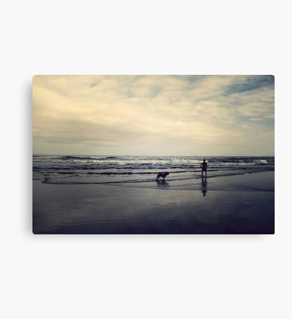 Doggie Beach Fun II Canvas Print