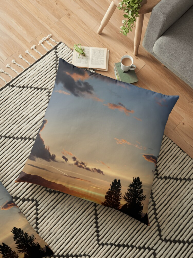 Painting Of A Road Trip Sunset Floor Pillow By Tararosalind Redbubble