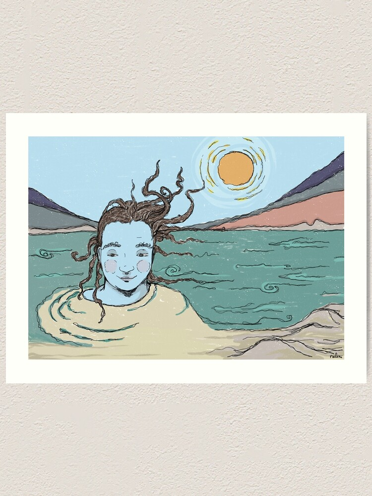 Alternate view of Woman and the Ganga river illustration Art Print