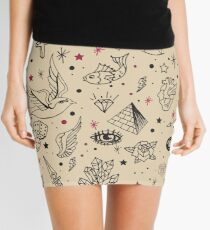 Hand Drawn Flash Tattoo Pattern Mini Skirt