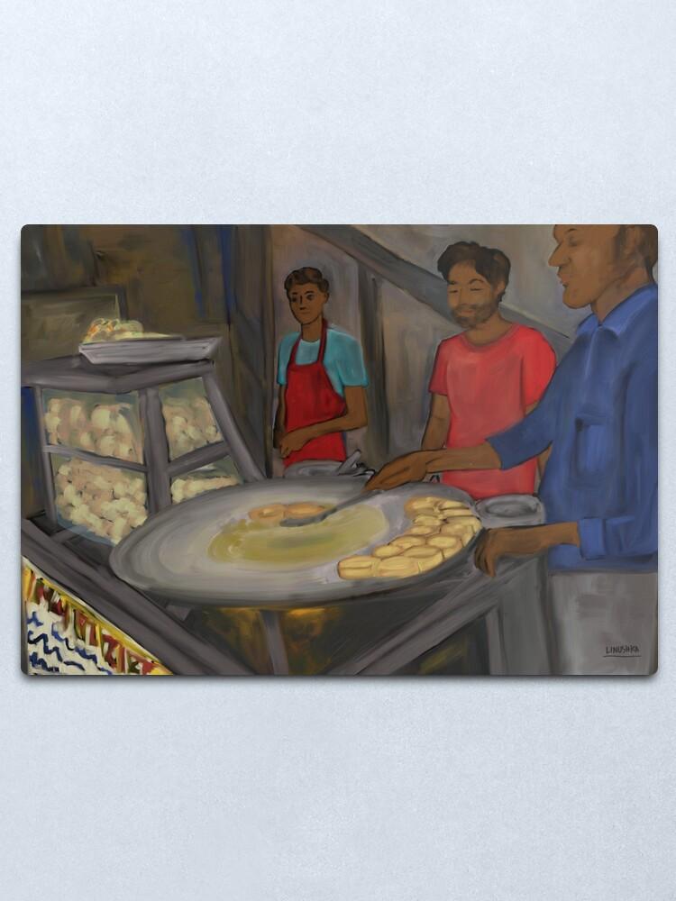 Alternate view of Aloo tikki vendors painting - New Delhi, India Metal Print