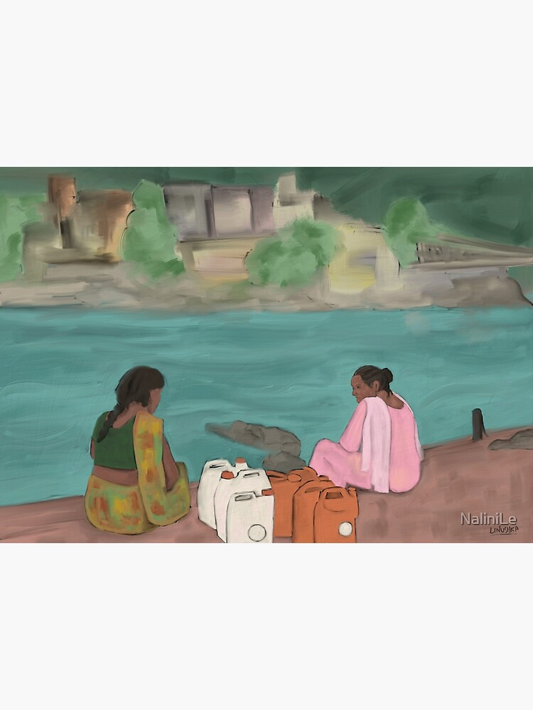 Two women on the banks of the river Ganga by NaliniLe