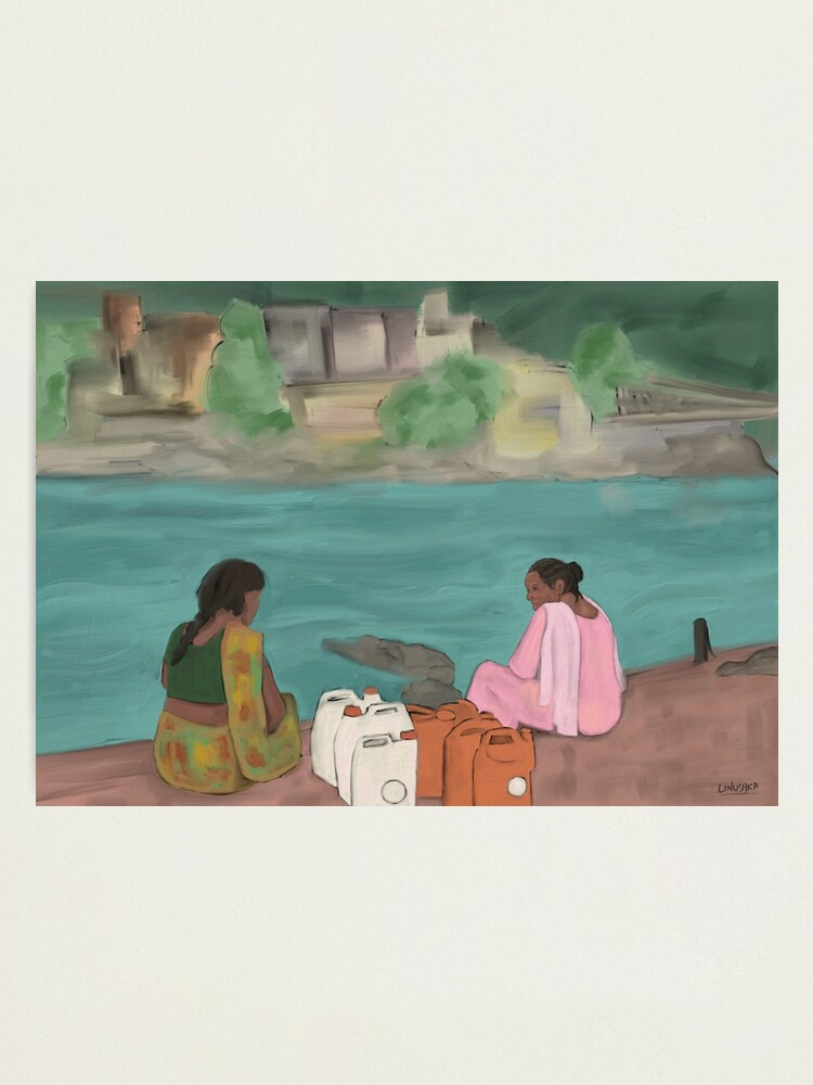 Alternate view of Two women on the banks of the river Ganga Photographic Print