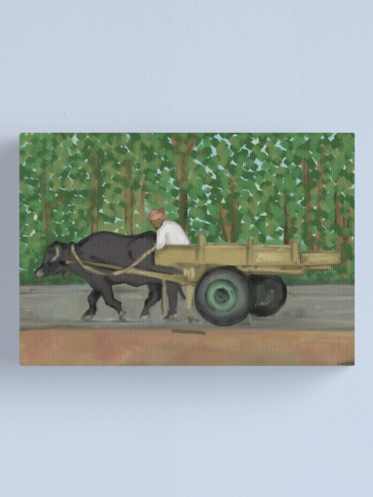 Alternate view of Man driving his cart painting - India Canvas Print