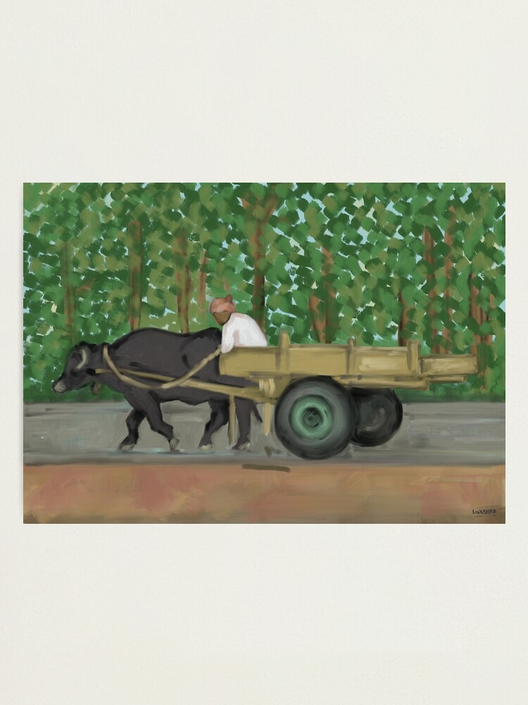 Alternate view of Man driving his cart painting - India Photographic Print