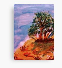 Beautiful trees on slope, watercolor Canvas Print