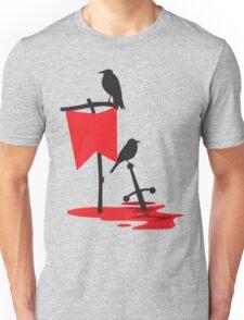 Black crows standing vigil on a blood red battlefield Unisex T-Shirt