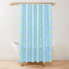 Weather Lovers Gift - Bright Yellow Lightning Bolt on Sky Blue - Meteorologist Present Shower Curtain