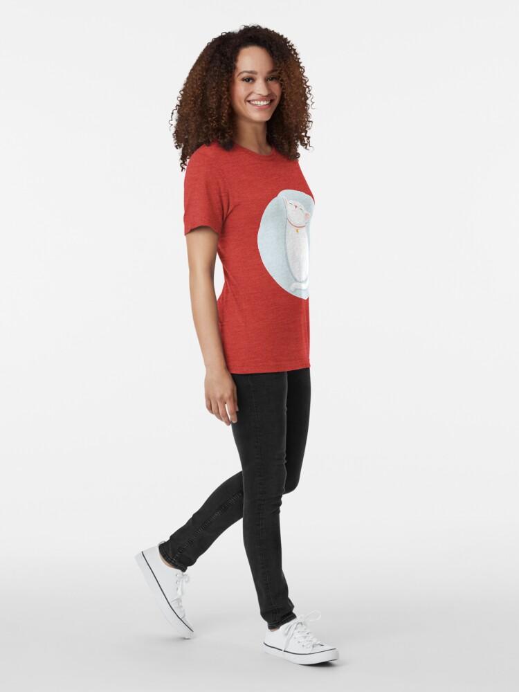Alternate view of Cat White Tri-blend T-Shirt