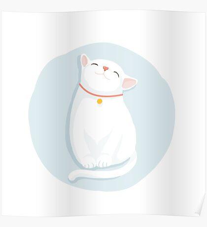 Cat White Poster