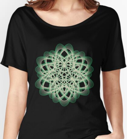 Abstract Sea Green Spiral Lines Relaxed Fit T-Shirt